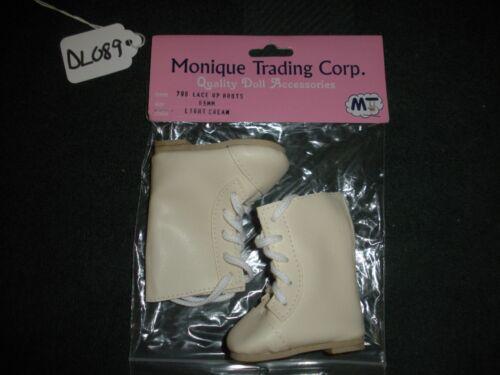 Pair of Monique Lace Up Light Cream Doll Boots Tan Soles SZ 65mm Style 796 DL089