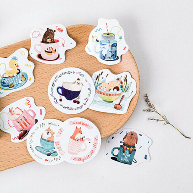 45x Cup Of Animals paper sticker decor DIY diary scrapbooking label stickers XC