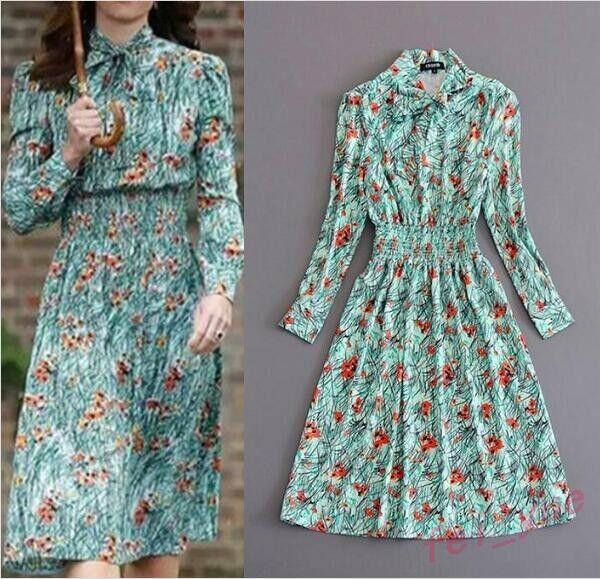New Floral Print A line Long Sleeve Vintage Dress Women's Gown Q7