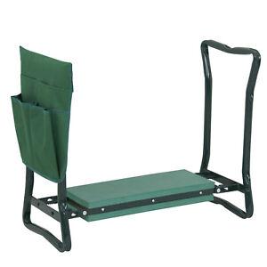 Folding Garden Kneeler Gardener Kneeling Pad Soft Cushion Bench Seat Stool  Pouch
