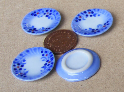 Escala 1:12 2 azul y blanca placas de cerámica 2.5cm tumdee Casa De Muñecas Accesorio B11