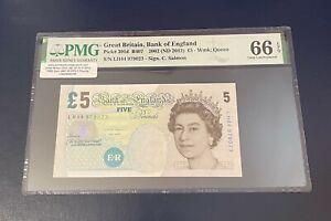PMG 66 EPQ  - GB Five Pound Note - 2002/12 - SALMON - £5 - GEM UNCIRCULATED