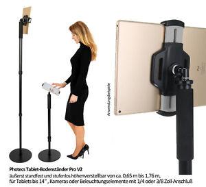 Photecs® Tablet-Bodenständer Pro V2 / Tablet-Stativ, höhenverstellbar bis 1,75 m
