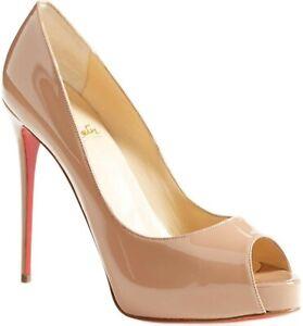 Christian Louboutin Prive Peep Toe Pumps Shoes Nude Beige