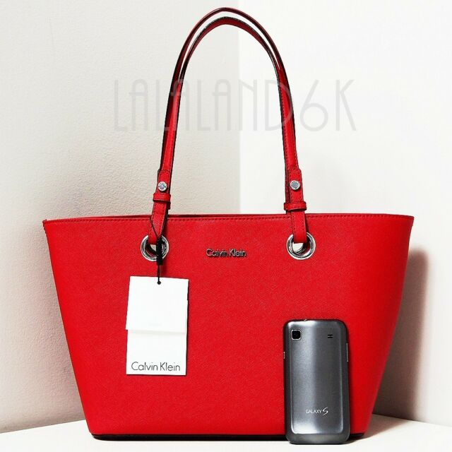 eeda27e9517 CALVIN KLEIN LIPSTICK RED SAFFIANO LEATHER SATCHEL TOTE SHOPPER BAG HANDBAG  NWT