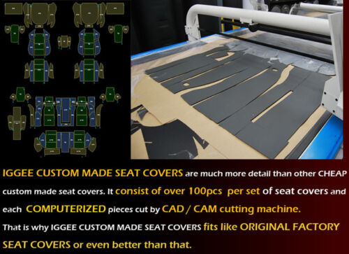 CHEVY SILVERADO 2014-2019 BLACK//GREY IGGEE S.LEATHER CUSTOM FIT FRONT SEAT COVER