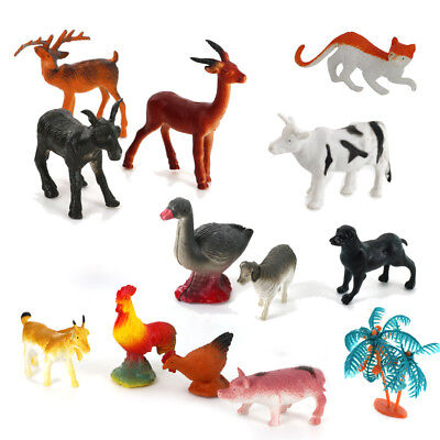 15 Plastic Farm Yard Animals Play Set Figures Pig Cat Dog Goat Cock Kids Toy