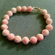 natural carved light coral pink conch shell bead bracelet