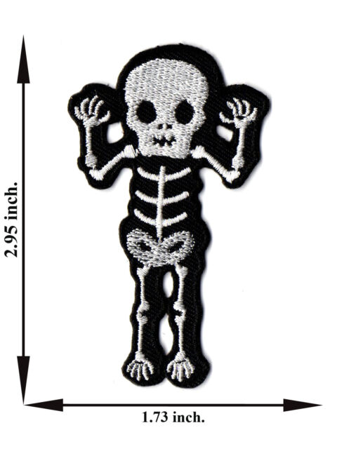 Skull Skeleton Biker Motorcycle Hand Up Rock Punk V10 Applique Iron on Patch Sew