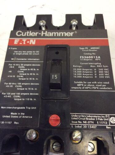 Eaton Cutler Hammer FS360015A Circuit Breaker F Frame 600VAC 15AMP