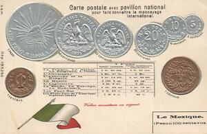 VINTAGE-MEXICO-FLAG-amp-EMBOSSED-COPPER-amp-SILVER-COINS-POSTCARD-UNUSED