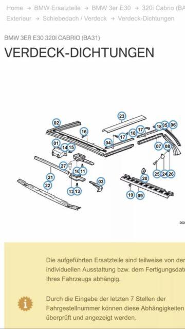 BMW E30 Cabrio Verdeck Dichtung seitlich rechts Mitte Neu 51328103194