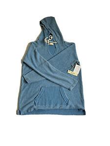 Ocean Drive Women's Size S Hooded Sweatshirt Blue Tie Neck Pockets