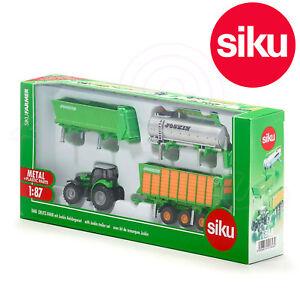 SIKU-N-1848-1-87-Llavero-Deutz-Fahr-Agrotron-X720-Tractor-con-3-Trailers