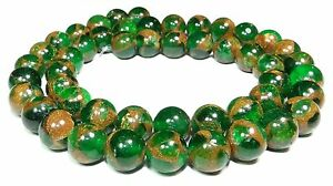 Jade-Composition-Balls-8-amp-10-mm-green-amp-Gold-shimmer-Pearl-Strand-beads