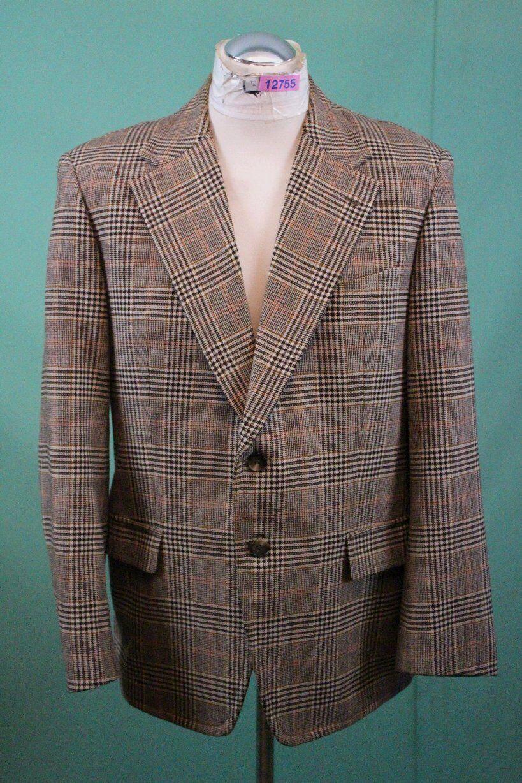 Edles Tweed Sakko ca 50 M 25 brown kariert Maßanfertigung vom Schneider