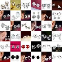 Fashion Women 925 Sterling Silver Crystal Rhinestone Ear Stud Silver Earrings