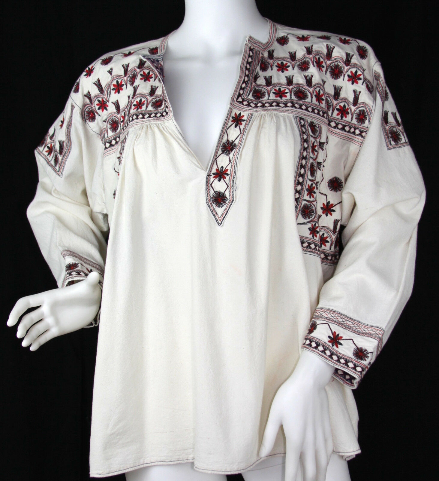 Vintage Ethnic Bohemian Off Weiß Cotton Peasant Embroiderot Tunic Top, Medium