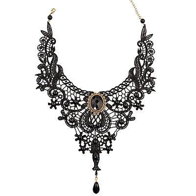 Artistic Lace Alloy Waterdrop Pendant Statement Bib Choker Party Necklace PHJ9