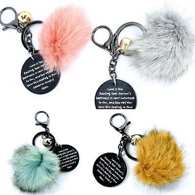 Keyring Soft Faux Fluffy Flamingo Fur HandBag Pendant Charm Pompom Keychain
