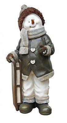 Schneemann mit Schlitten, Dekofigur, Weihnachtsfigur, Weihnachtsdeko 29 cm