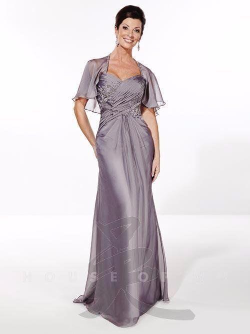 Serena London 17726 Platinum Chiffon Mother of the Bride Gown Dress sz 8