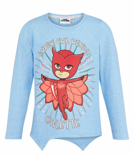 Girls Kids Official Licensed PJ Masks Light Blue Owlette Long Sleeve T Shirt Top