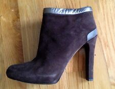 FENDI Authentic Brown suede booties ankle boots silver trim sz 40 US 9.5/10