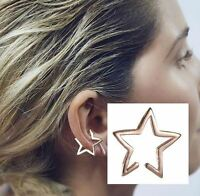 Star Ear Cuff Jewelry Silver Gold Black One (1) Either Ear Clip On Jewelry