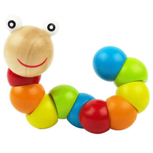 Simulation-Caterpillar-Wooden-Twisted-Worms-Children-Early-Educational-Toys-8Y