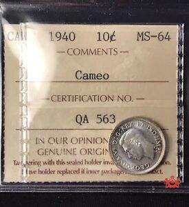1940-Canada-10-Cents-Cameo-ICCS-MS64-Old-Certification-QA-563