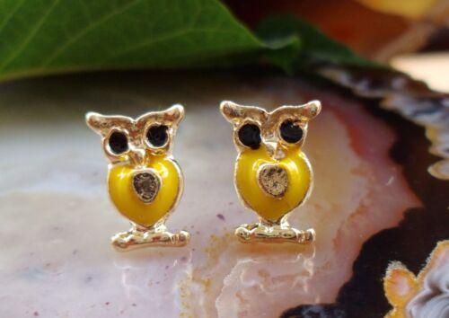 Ohrstecker Eule gelb emailliert goldfarbig vergoldet Ohrring