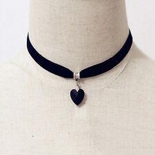 Black Velvet Choker w/ Heart Pendant Gothic Punk Necklace USA SELLER