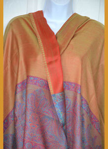 Paisley-double-side-Pashmina-Silk-blend-Shawl-Stole-Wrap-golden-orange-India