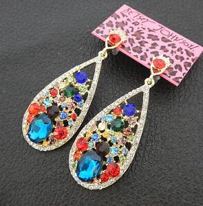 Women-039-s-Multi-Color-Crystal-Rhinestone-Waterdrop-Betsey-Johnson-Stud-Earrings