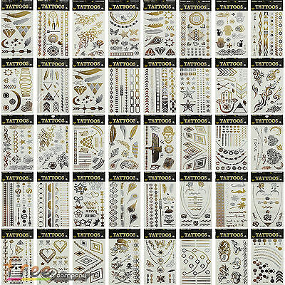 1 Sheet Gold Silver Black Metallic Temporary Tattoo Flash Tattoos Flash Inspired