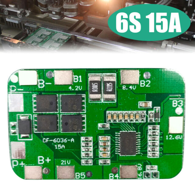 6S 15A 3.7V Li-ion 18650 22.2V Lithium Battery Packs BMS Protection PCB Board