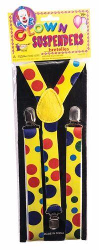 Bretelle clown a pois circo Costume Festa Accessorio Giallo