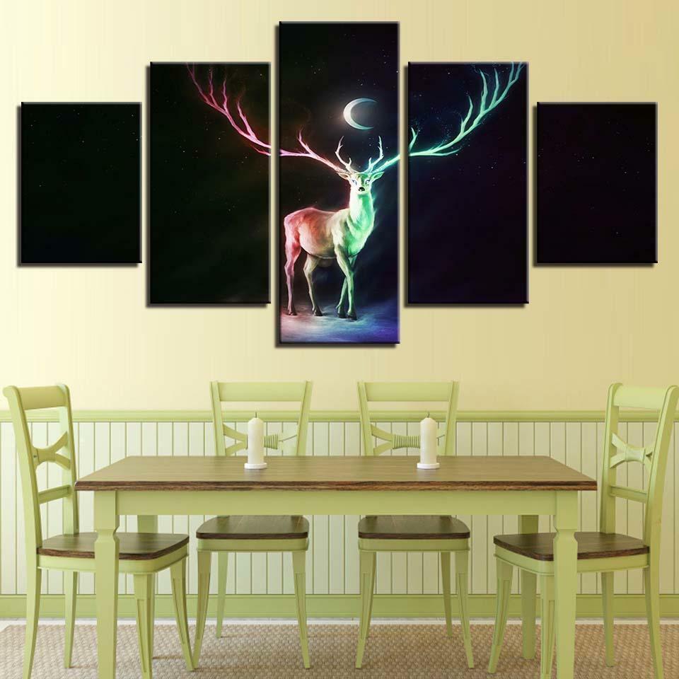 Abstract Deer Moon Night 5 panel canvas Wall Art Home Decor Print Painting
