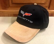 Corvette Classic Logo Cap, Tan Swede Bill/Accents, Embosed Closure, SHIPS FREE!
