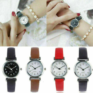 Women-039-s-Leather-Strap-Watches-Casual-Quartz-Analog-Round-Dial-Wrist-Watch-New