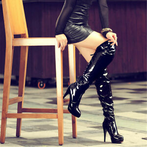 Womens-Ladies-Knee-High-Boots-Shoes-Platform-Zip-Sexy-Pole-Dancing-Boots-UKB307