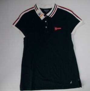 NAUTICA-Red-White-and-Blue-NAUTICAL-Flag-POLO-SHIRT-Womens-Size-SMALL-NEW