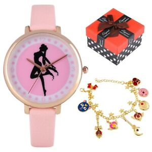 Novel Gift Set Women Quartz Wrist Watch with Sailor Moon Bracelet Link Chain