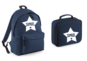 Personalised Name Star Rucksack and Lunch Bag Set Backpack Back to School Box