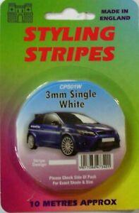 Single White Styling Stripes 3mm X 10m Coach Line Tape Pin Stripe