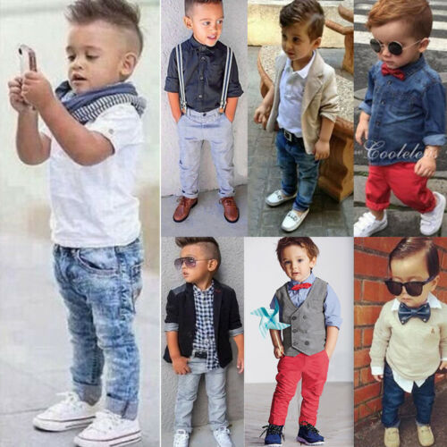 Baby Kinder Jungen Langarmshirts Hemd Hose Mantel Hochzeit Party Kleidung Outfit