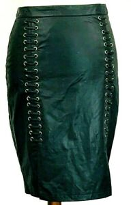 2B-bebe-Womens-Leather-Skirt-Black-Size-Small-Fitted-Shoelace-Design