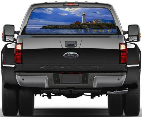 Lighthouse Ocean Shoreline  Rear Window Graphic Decal Sticker Truck SUV Van Car