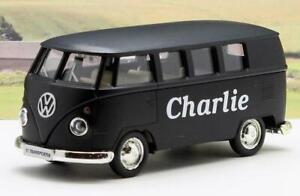 PERSONALISED NAME Gift Matt Black VW T1 CAMPER VAN BUS Boys Dad Toy Model Boxed